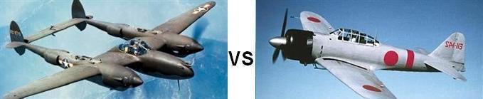 P-38 vs Zero