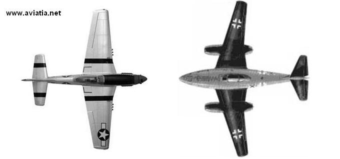 p-51 vs me-262 size compare